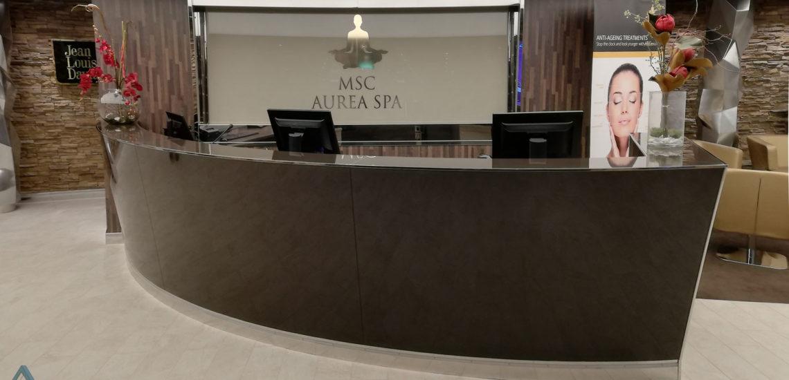 Banque d\'accueil en verre cintré laqué ARIZIO MIROIR DECO