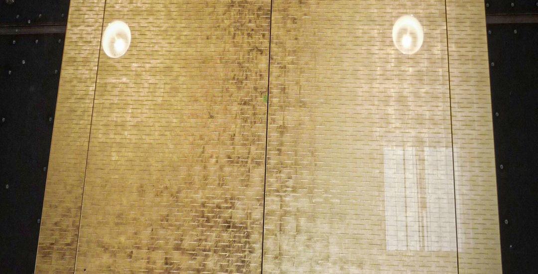 Porte et encadrement en verre gravé avec feuille d\'or ARIZIO MIROIR DECO