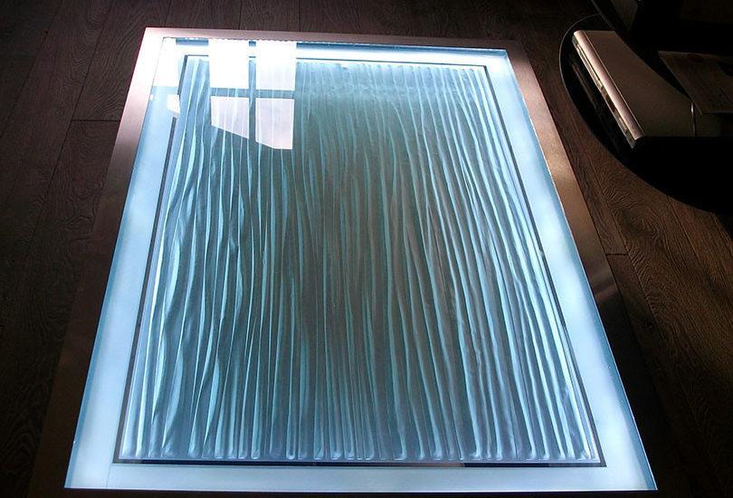 Dalle de sol en verre avec gravure dépolie ARIZIO MIROIR DECO