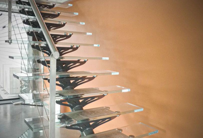 Escalier en verre feuilleté ARIZIO MIROIR DECO